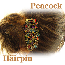 Vintage Rhinestone Peacock Barrette Hairpin Hair Clip Hair Accessories Free Shipping PTSP(China (Mainland))