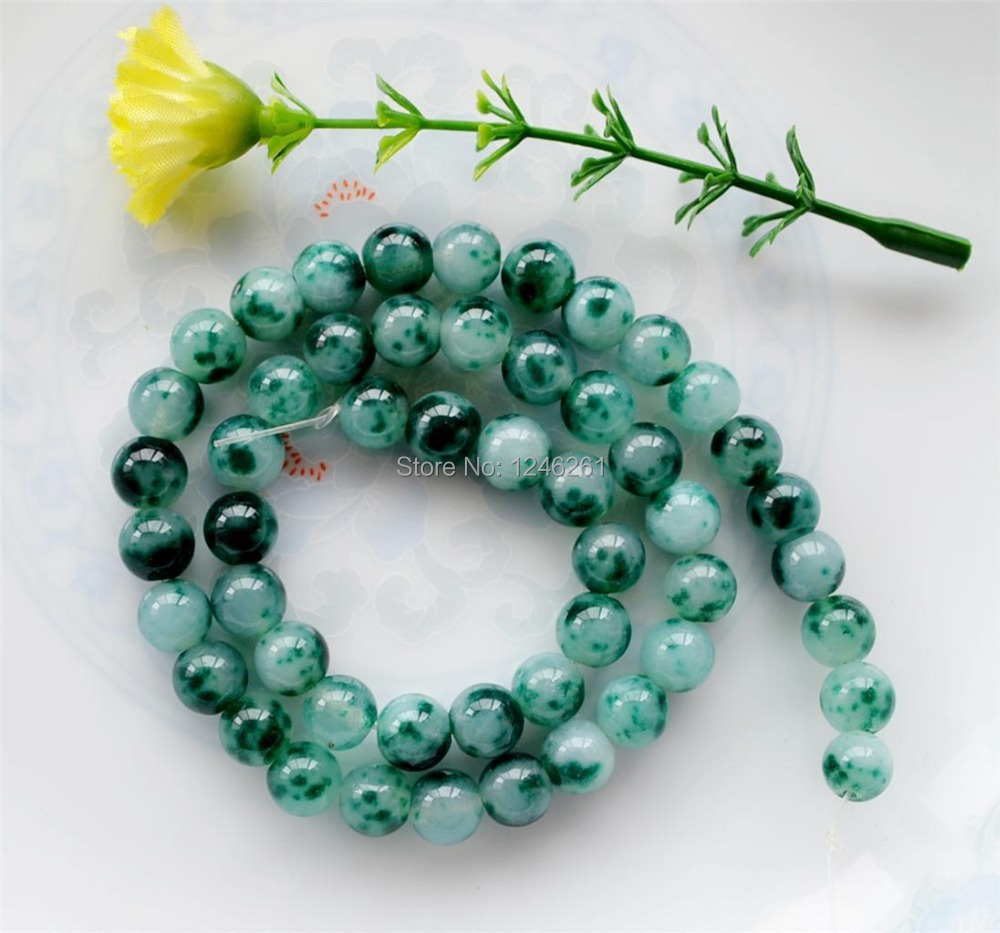 "2015 New Trendy 6mm Green Mixed White Spots Jade Loose Beads Fashion Jewelry Semi-Precious Natural Stone 15"" ""Wholesale(China (Mainland))"