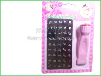 DIY Nail Art Stamping Set Stamping Nail printer,Stamps with Scrapers+a big size flower plate Freeshipping 0051