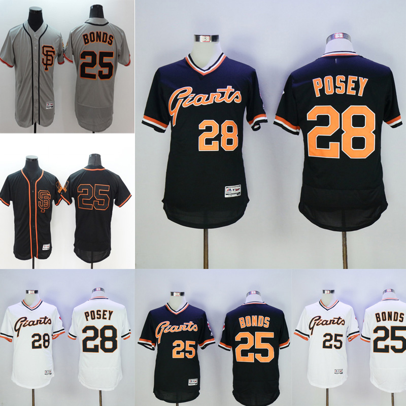 Mens Flexbase #25 Barry Bonds #28 Buster Posey Jersey Color Black Gray White Throwback Jerseys(China (Mainland))