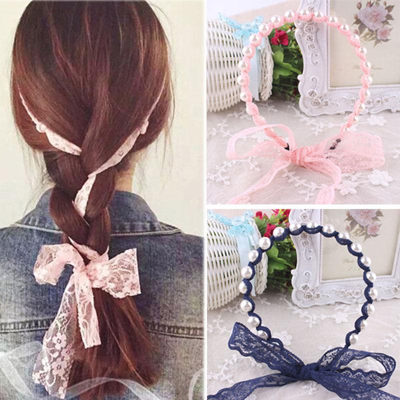 2016 Women Headbands Lace Hair Accessories Summer Style Imitated Pearl Scrunchy Hair Bows Elastic Hair Bands Flower Hairbands(China (Mainland))
