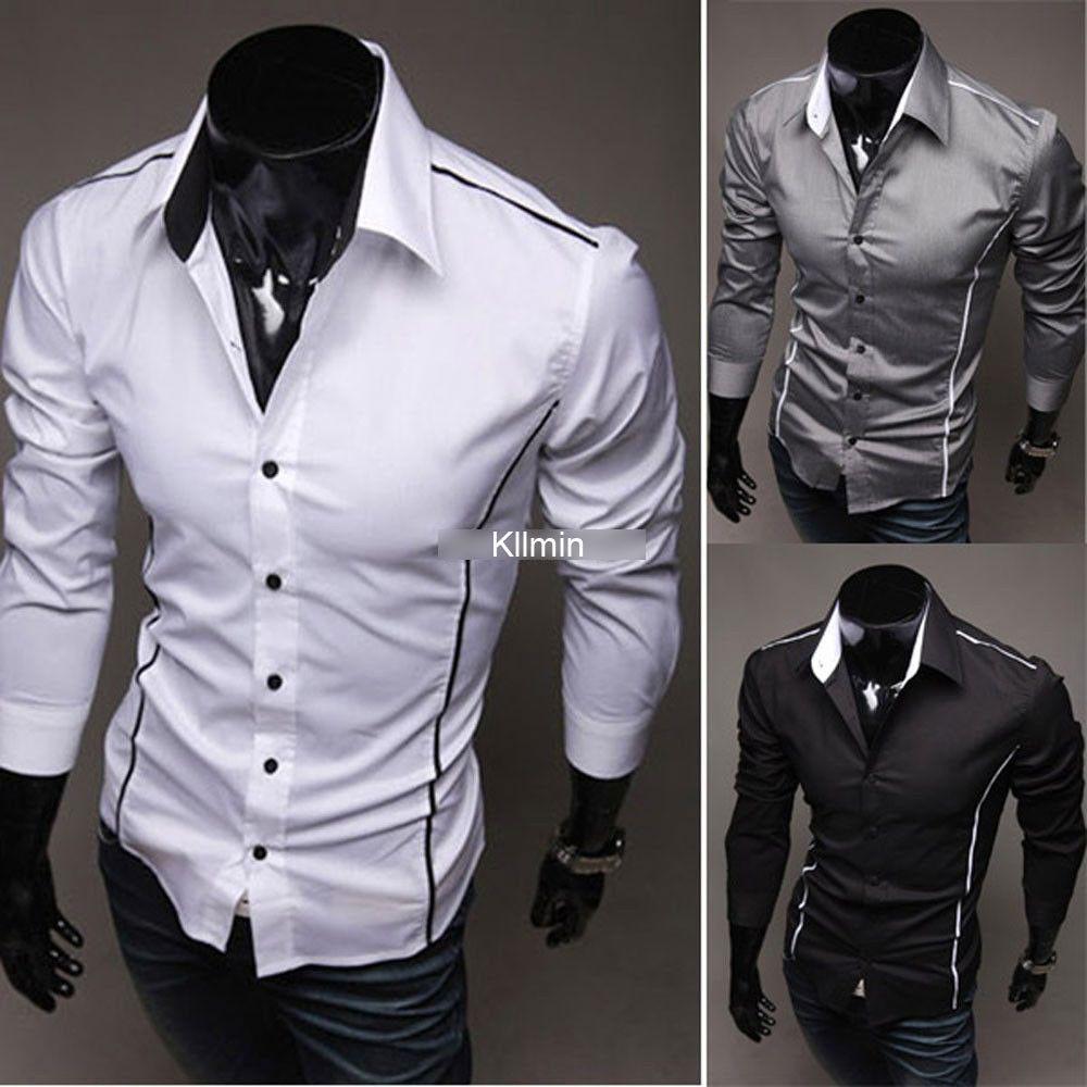 Mens boys luxury casual slim fit stylish formal long for Men s trim fit dress shirts