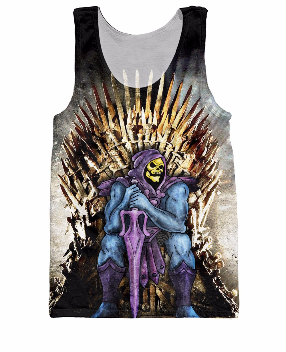 Unisex Women Men Basketball Jersey Skeletor Conquers the Realm Tank Top Cartoon He-Man and the Masters of the Universe Vest tees(China (Mainland))