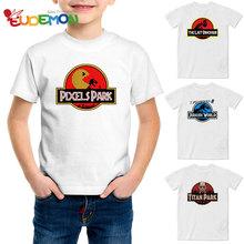 Пикселей Парк Отпечатано Новинка Футболка Лето Повседневная Мальчики Футболка Новая Мода Детская Одежда Мягкий Белый Спорт Ти Топы(China (Mainland))