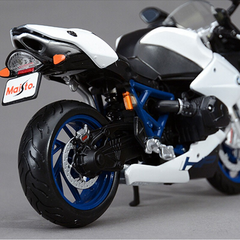 Unique 1:12 scale youngsters HP2 SPORT motorcycle racing diecast metallic tank collectible mannequin vehicles auto bikes for kids toys