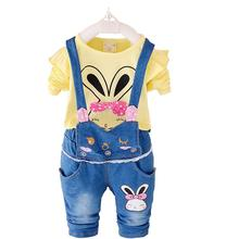 2015 New Autumn Baby Girls Clothes Set Minnie Toddler Girl Clothing Set Long Sleeve T shirt + Overalls Kids Girl Clothes Autumn(China (Mainland))