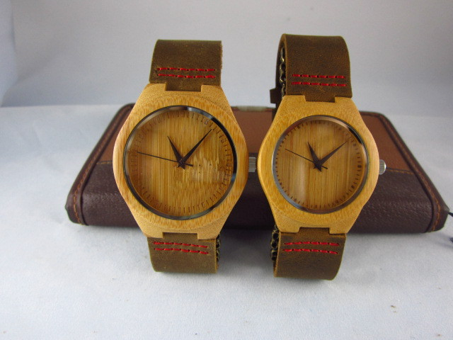 wristwatches bamboo wooden watches genuine leather strap bands Japan movement men women gifts - Watch & Accessories For You store