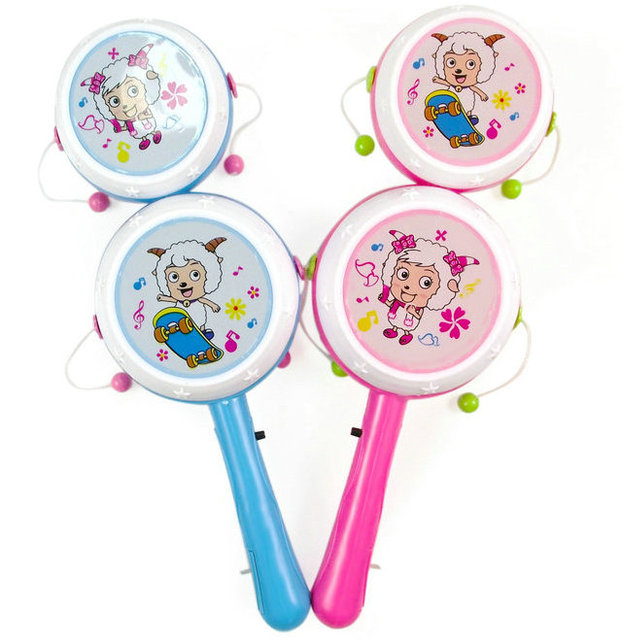 Baby toy colorful luminous rattle musical drum wave hand drum belt 3 flash lamp cj163