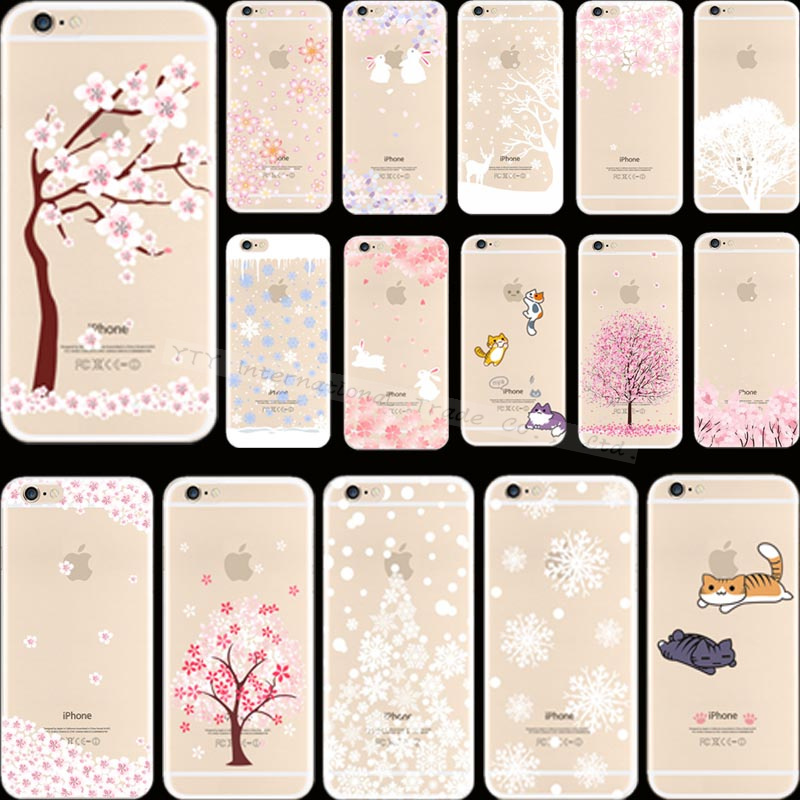 Top Popular Painting Flower Tree Silicon Phone Cover Cases For Apple iPhone 6 iPhone 6S iPhone6 Case Shell MKL XFJ NKS LAIR(China (Mainland))