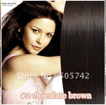 "Wonderful gift for ladies!free shipping!26""#2 dark brown full around the head 100% human hair clip in hair extensions #2 70g"