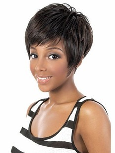 2015 Cute chic pixie cut Synthetic wigs Short Straight Black african American bangs women - Young and beautiful wig store