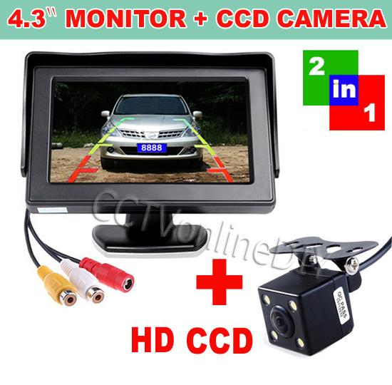 "LED Night Vision Reversing CCD Car Rear View Backup Camera with 4.3"" Car Rearview Monitor(China (Mainland))"