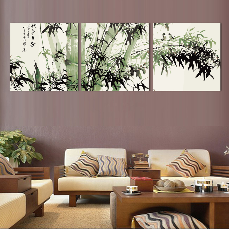 Fashion Large Canvas Art Cheap Modern Abstract Bamboo Canvas Wall Art Landscape Oil Painting