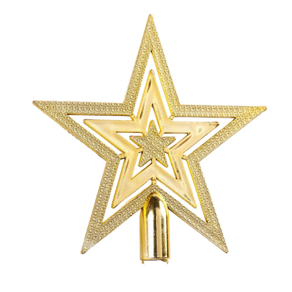 9 5cm golden glitter star christmas tree topper ornaments for Five homemade christmas tree topper ideas