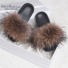 ETHEL ANERSON Moda Real Raccoon Fur Chinelos Slides Interior Flip Flops Casual Vogue Sapatos de Verão Sandálias da Moda de Pele De Raposa de Pelúcia(China)