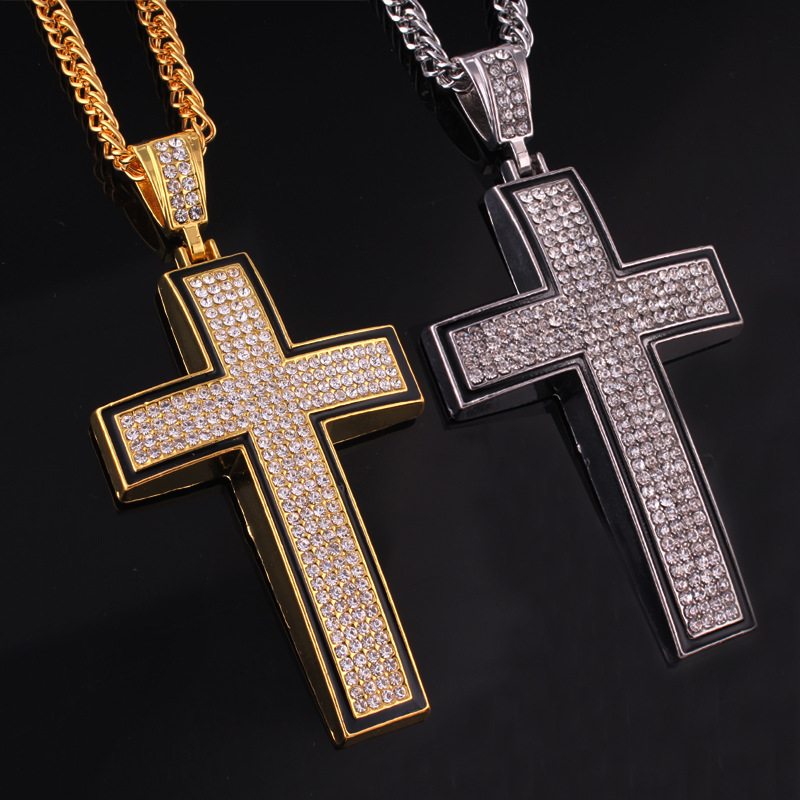 New Gold Silver Cross Necklace Hip Hop Jewelry Hiphop Long Necklaces Rhinestone Pendant Gold Chain for Men Hipster Choker H0029(China (Mainland))