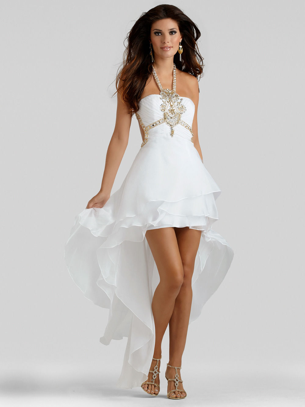 Elegant 2015 White Evening Dress Short Front Long Back