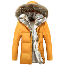 -30 Degree Temperature 2016 Winter Real Fabbit Fur Jacket Men Long Thick Warm Yellow Casual Hooded Down Coat(China (Mainland))