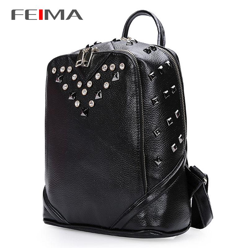 2015 Korean Style Women Backpack Genuine Leather New Fashion Brand Fresh Design Travel Camping Backpacks School Bags Pink Black