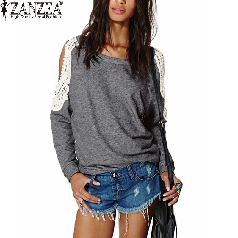 2015 Spring Autumn Women Casual Sexy Lace Crochet Splice Off Shoulder Long Sleeve Shirts Tops Blouse Hoodies Sweatshirts