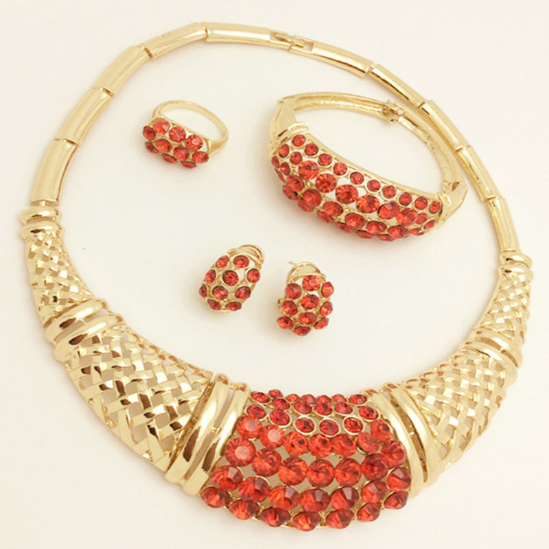 African dubai Jewelry Sets 18K Gold Plated Statement Necklace Earrings Bracelet Ring Set For Women  Jewelry Costume Accessory