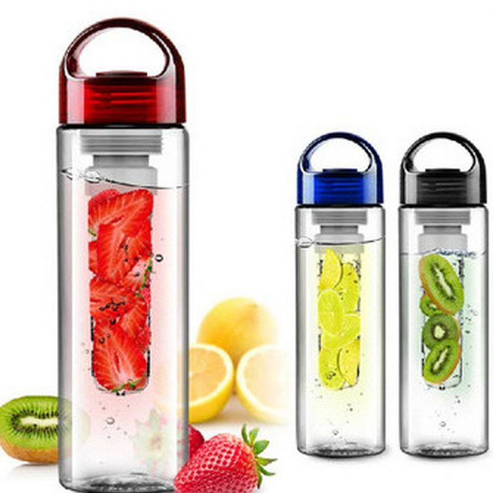 600ml cup Fruit Infusing Infuser Water Bottle with box Sports Health Lemon Juice Make Red, blue, green, black 4 kinds of color(China (Mainland))