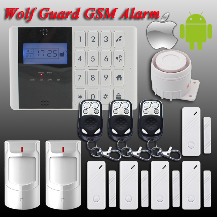 Wolf-Guard Android IOS App Touch Screen Keypad+LCD display 99 Wireless Zone GSM Home/house Security Burglar Voice Alarm System