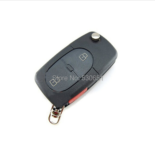 Flip Remote Key Shell Audi A3 A4 S4 Uncut Fob Case 3 Button Panic Folding WITH SMALL BATTERY - Car Electronics Center store