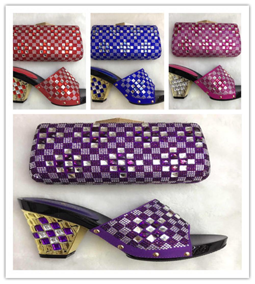 Italian design high heel shoe and bag set,African shoe and bag set white stones/TH16-10 Italian shoes matching bag set
