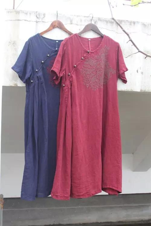 Original Design Women Clothes Brand Desigual Embroidered Retro Short Sleeve Crew Neck Dress Loose Casual Linen Dresses Summer(China (Mainland))