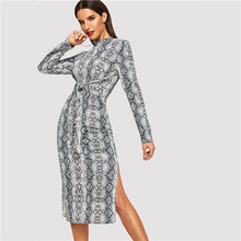COLROVIE Mock Neck Snake Print Split Long Sleeve Sexy Dress Women Autumn Streetwear Party Dress Bodycon Casual Midi Dresses(China)