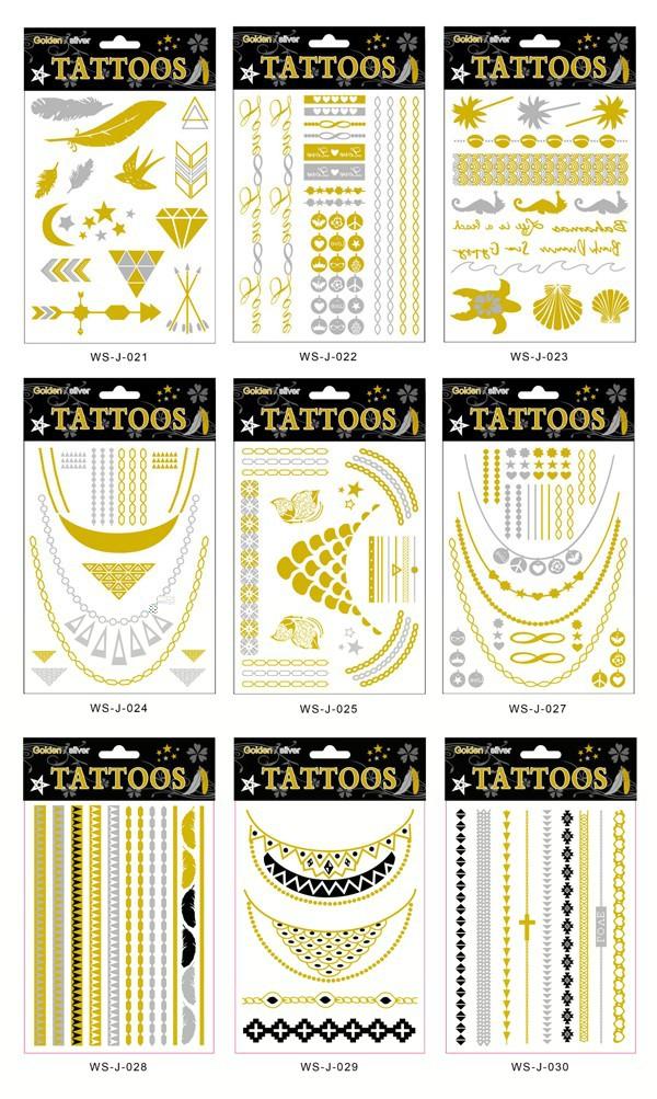 к 2015 году новый дизайн сексуальная череп цветочные водонепроницаемый временную татуировку флэш-металлик золото серебро поддельные татуировки наклейки для тела/arm