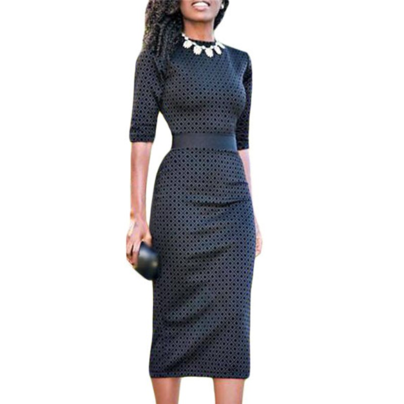 Hawaiian print dresses for women african fashion clothing ethnic style brown black midi dress with half sleeves vintage A61355