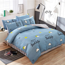 Classic bedding set 5 size grey blue flower bed linen 4pcs/set duvet cover set Pastoral bed sheet AB side duvet cover 2019 bed(China)