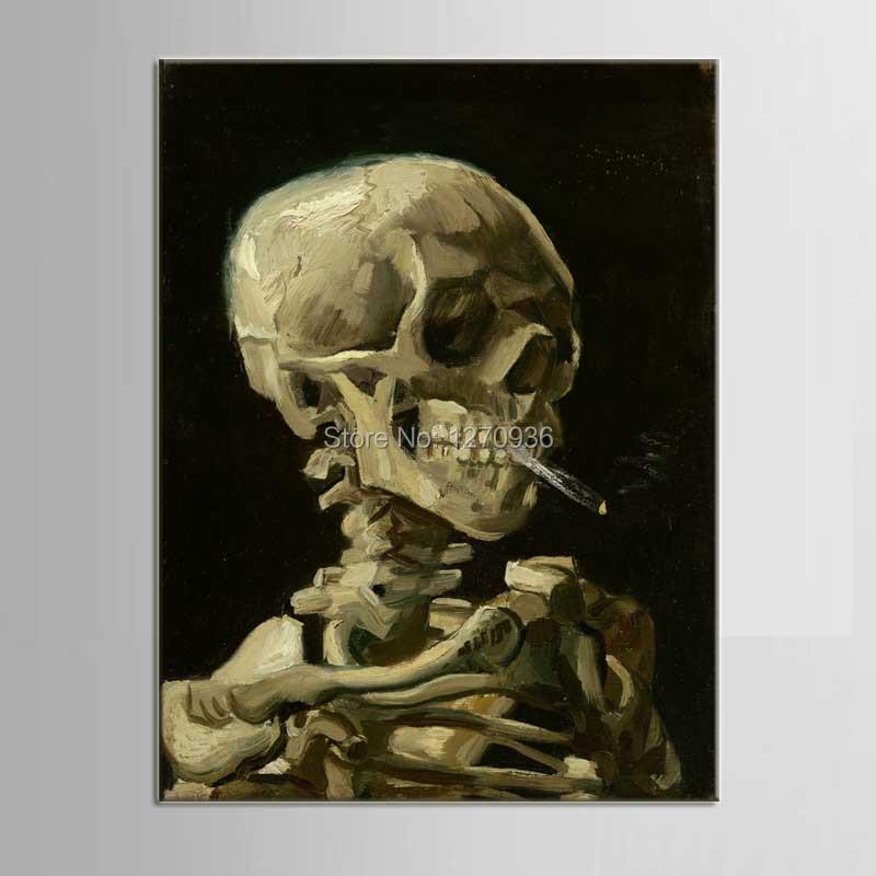 Horreur classique art de médecine intégré crâne humain vert brun portrait peint peinture décorative(China (Mainland))