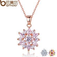BAMOER Hot Sell Real Gold Plated Flower Necklaces Pendants with High Quality Cubic Zircon For Women Birthday Gift JIN024(China (Mainland))
