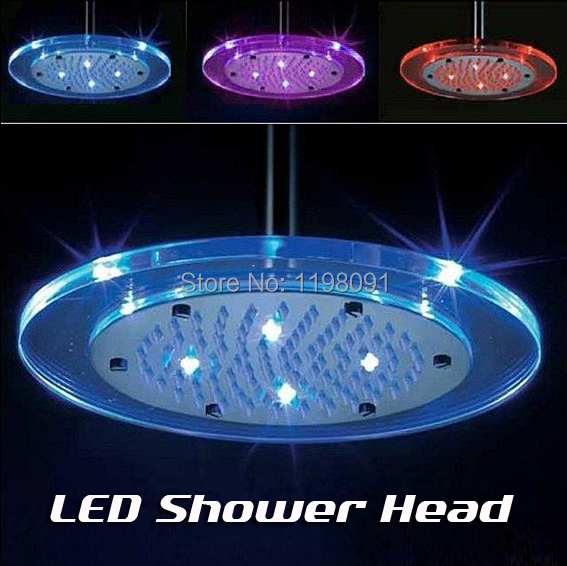 Round led temperature sensitive shower head 3 color light Temperature sensitive glass