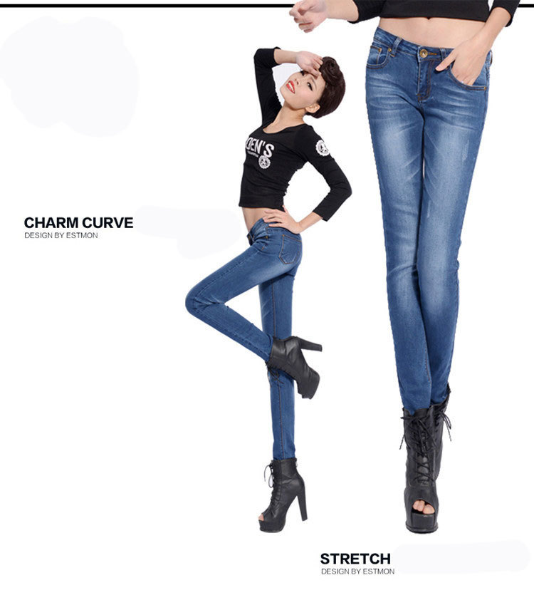 Ms. Jeans 2015 summer new big size jeans female jeans feet high elastic women cheaper Chinese 50(China (Mainland))