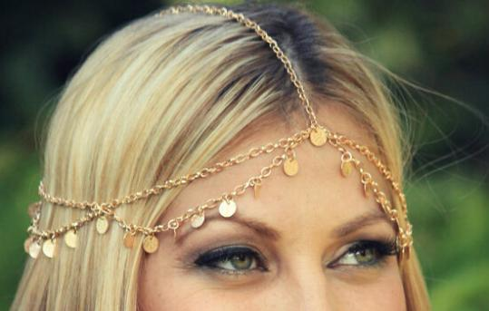 Women Girls golden color shiny wave tassel Chain Hairband Headband Festival Party Wedding Bridal Beach - Gretel Intercontinental Trade Corporation store