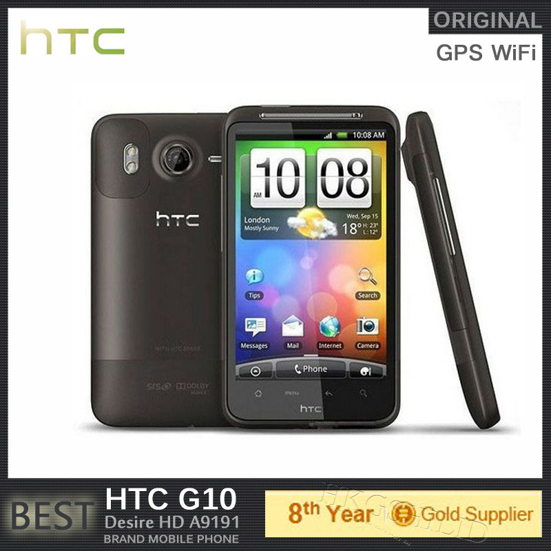 """Original Unlocked G10 HTC Desire HD A9191 Android phone 4.3""""inch 8MP WIFI GPS Refurbished Refurbished HTC Cell phone(Hong Kong)"""
