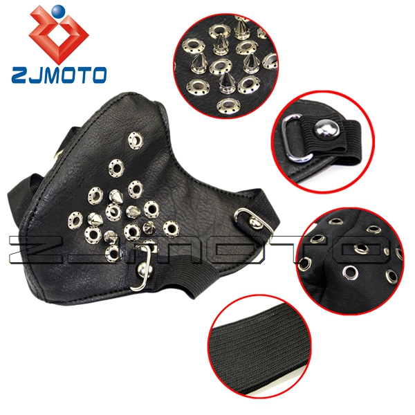 ZJMOTO Metal Holes Studded Mens Punk Biker Motorcycle Leather Half-face Mask Masquerade Spikes black Mask For Men One Size