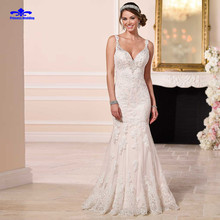 Buy Hot Sale Sexy V Neck Gowns Bride Dressess Luxury vestido de noiva Vintage Custom Made Lace Wedding Dresses Sexy Mermaid 2017 for $186.07 in AliExpress store