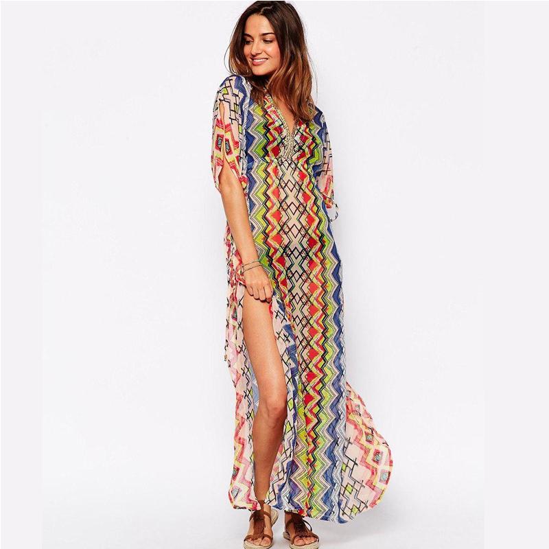 Elegant  Women39s Bohemian Style Long Dress Sleeveless Chiffon Dresses D5252