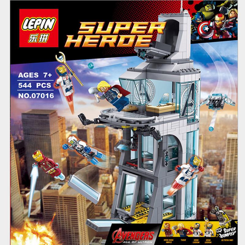 Legoe Marvel Avengers building block Attack On Tower assemblage bricks model IronMan Base minifigures compatible<br><br>Aliexpress