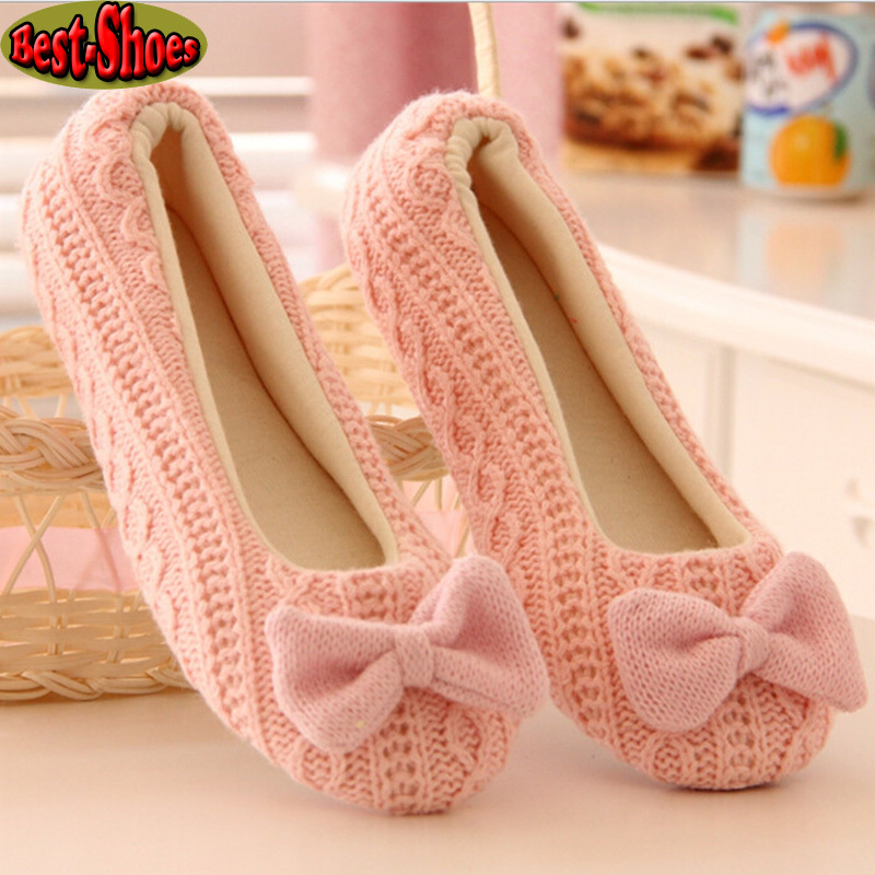Hot Selling Free Shipping Warm Soft Sole Woman Indoor Floor Slippers/Shoes Crochet Bowtie Pantufa Home Slippers Shoes chinelo(China (Mainland))