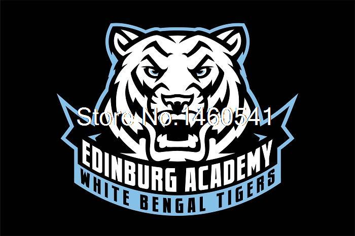 Edinburg Academy White Bengal Tigers 3ft x 5ft Polyester Banner Flying Size No.4 144* 96cm Custom flag(China (Mainland))