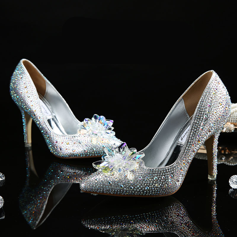Cinderella Shoes New 2016 Women Pumps Sexy Prom Rhinestone Wedding Shoes Bridal High Heels Pointed Toe