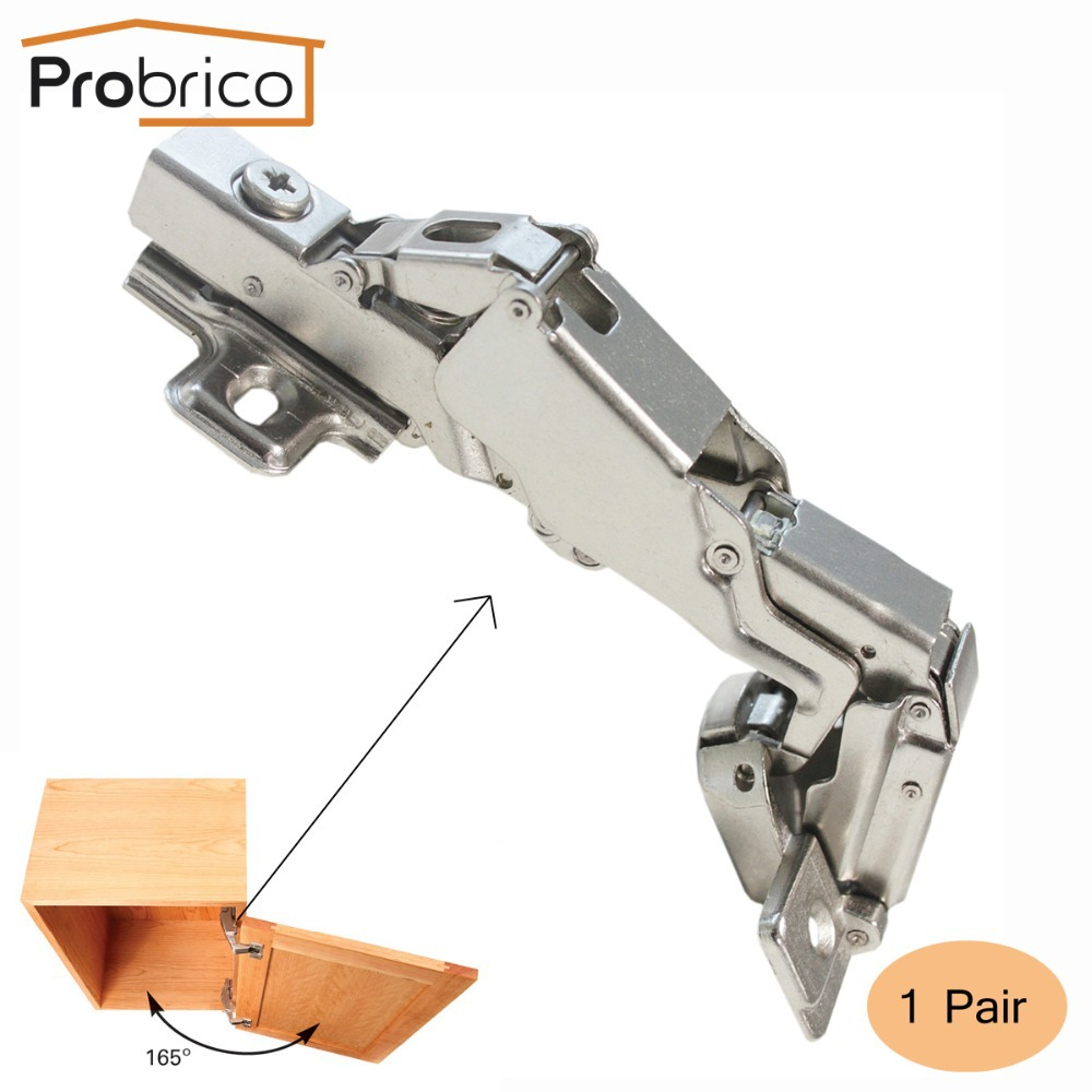 Probrico CHW093HA 1 Pair 165 Degree Clip on Soft Closing Concealed Hydraulic Full Overlay Kitchen Furniture Cabinet Hinges(China (Mainland))