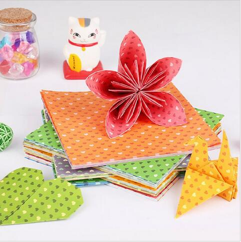 10 papres Home Colorful DIY Paper Craft Scrapbooking Paper Origami Lucky Star Heart Shaped Craft Folding Paper(China (Mainland))