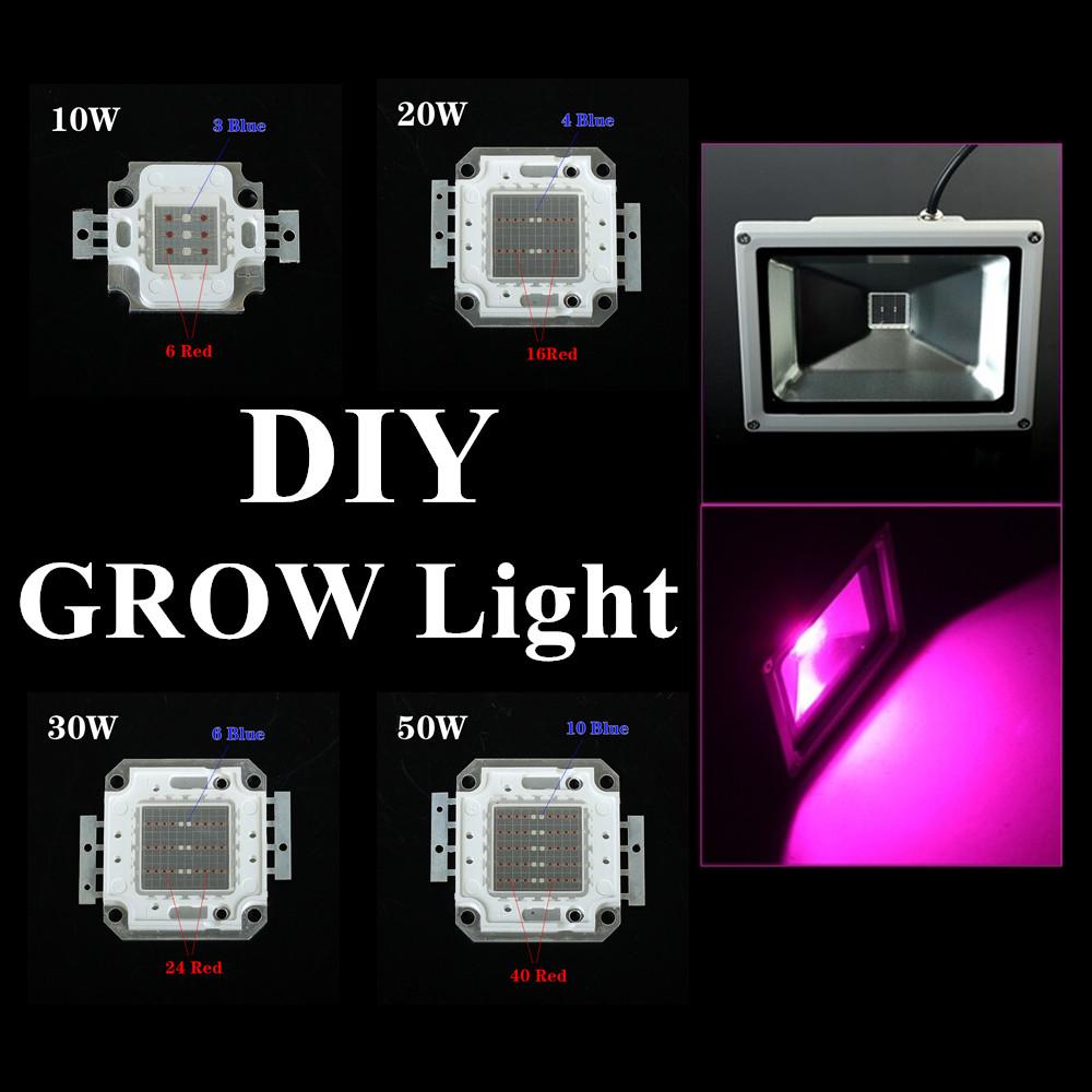diy led grow lights led chip 10w 20w 30w 50w red blue led plant lamp. Black Bedroom Furniture Sets. Home Design Ideas